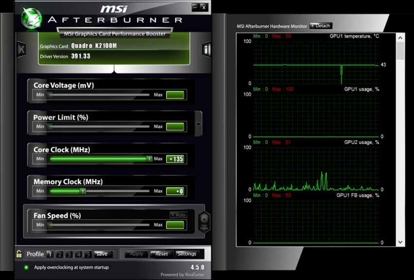 Afterburner; Meranie teploty PC