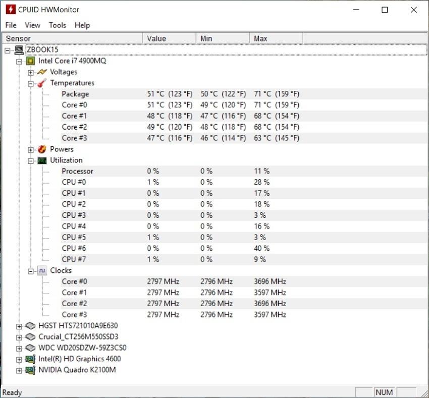 HWMonitor; Meranie teploty PC