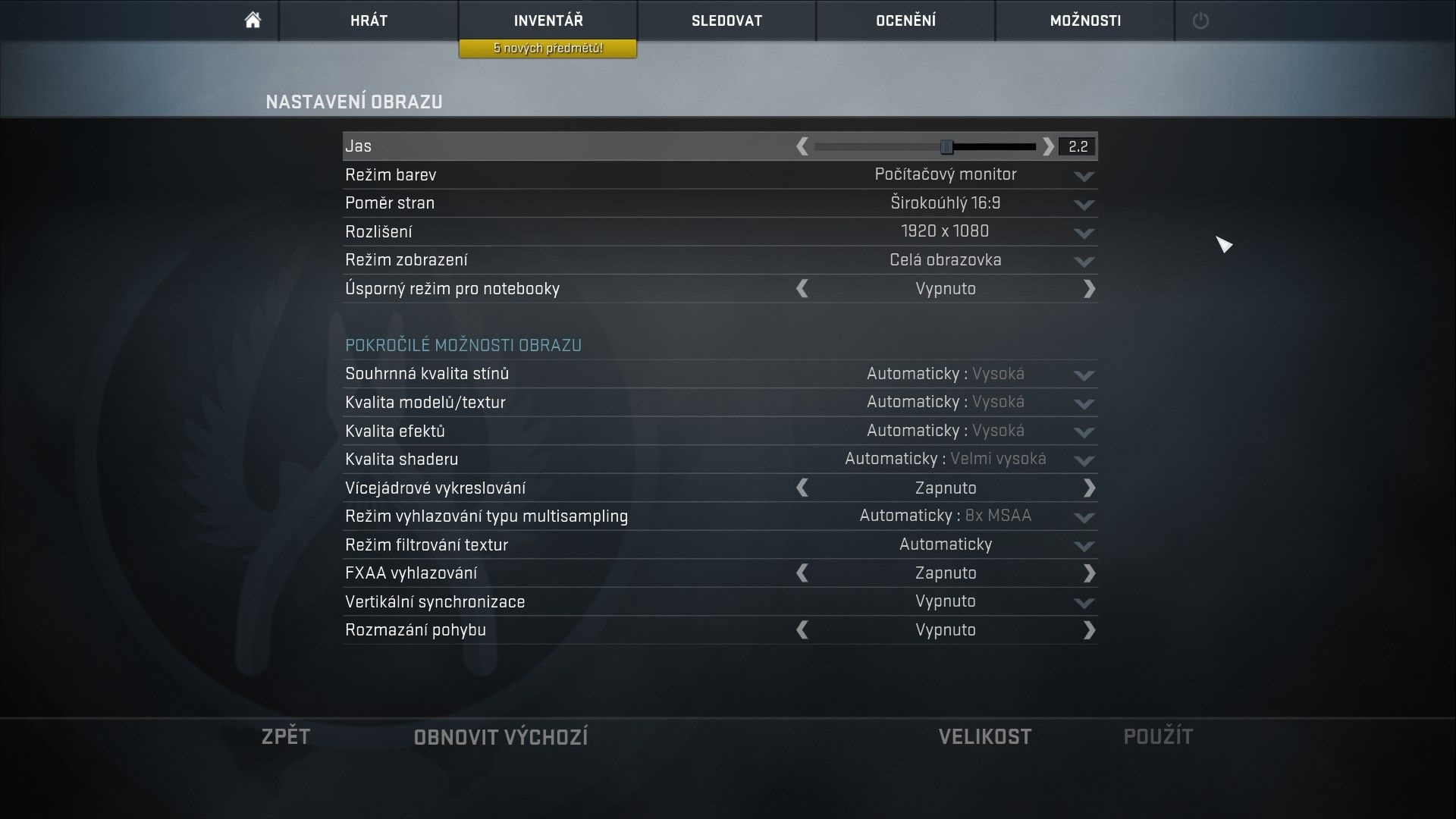 Counter Strike: Global Offensive nastavenie videa