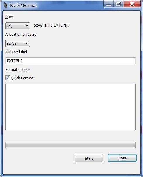 FAT32 Format voľba parametrov formátovania