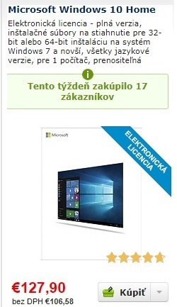 Windows 10, elektronická licencia