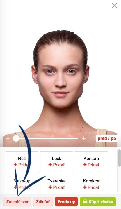 Tlačidlo Zmeniť tvár