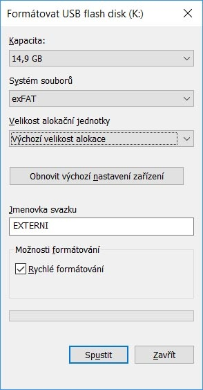 Formátovanie externého disku vo Windows 10