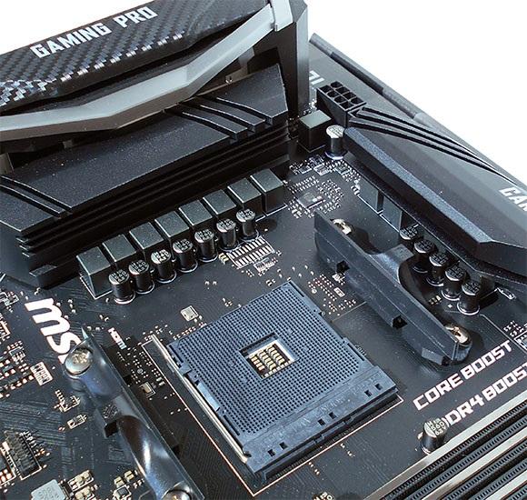 Chladenie napájacej kaskády, MSI X470 Gaming Pro Carbon
