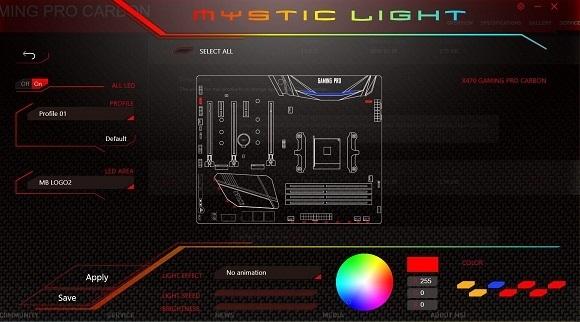 MSI Mystic Light, MSI X470 Gaming Pro Carbon