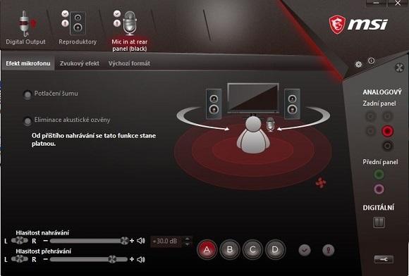 Ovládací panel zvukovky, MSI X470 Gaming Pro Carbon