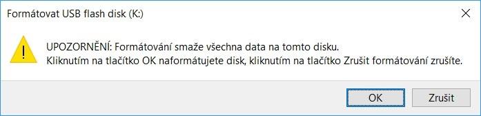 Upozornenie na stratu dát pri formátovaní vo Windows 10