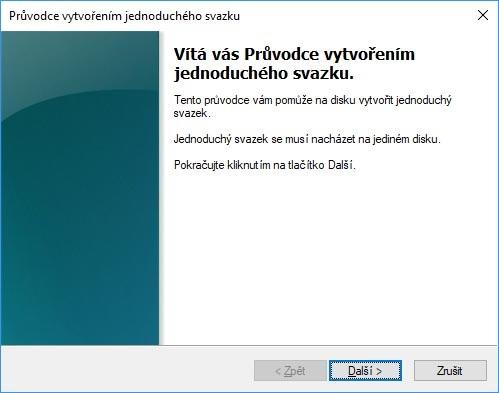 Sprievodca vytvorením nového zväzku Windows 10