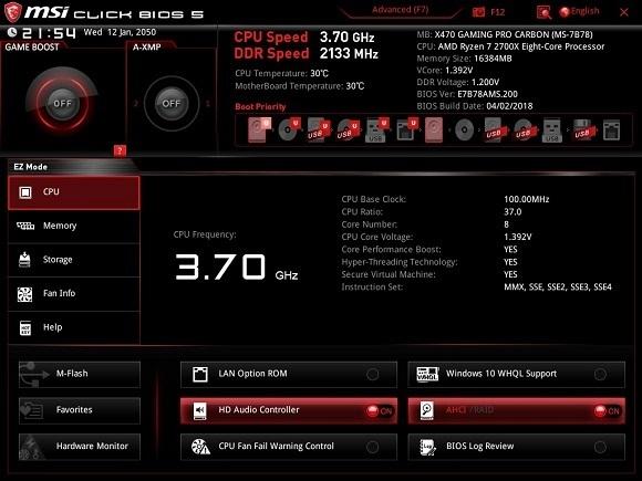 EZ Bios, MSI X470 Gaming Pro Carbon