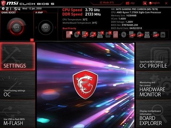 Pokročilé nastavenia, MSI X470 Gaming Pro Carbon
