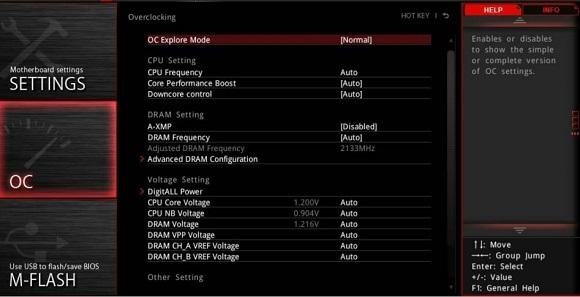 Záložka pretaktovania, MSI X470 Gaming Pro Carbon