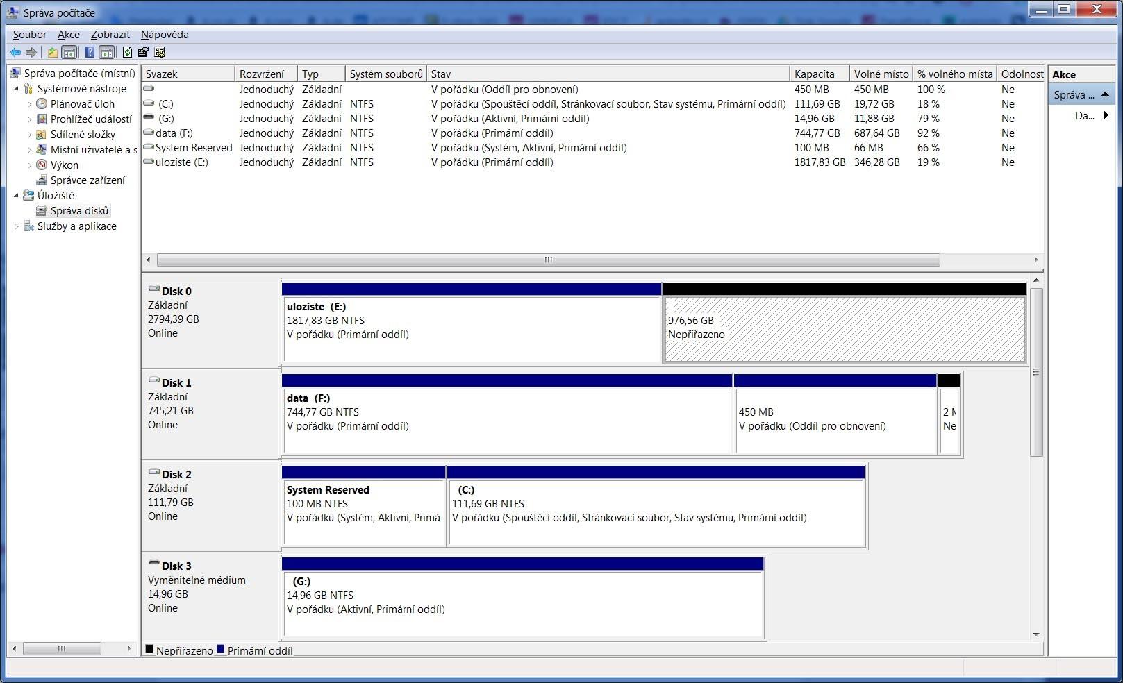 Správa disku vo Windows 7
