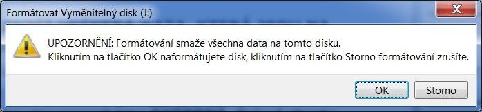 Upozornenie na stratu dát pri formátovaní Windows 7