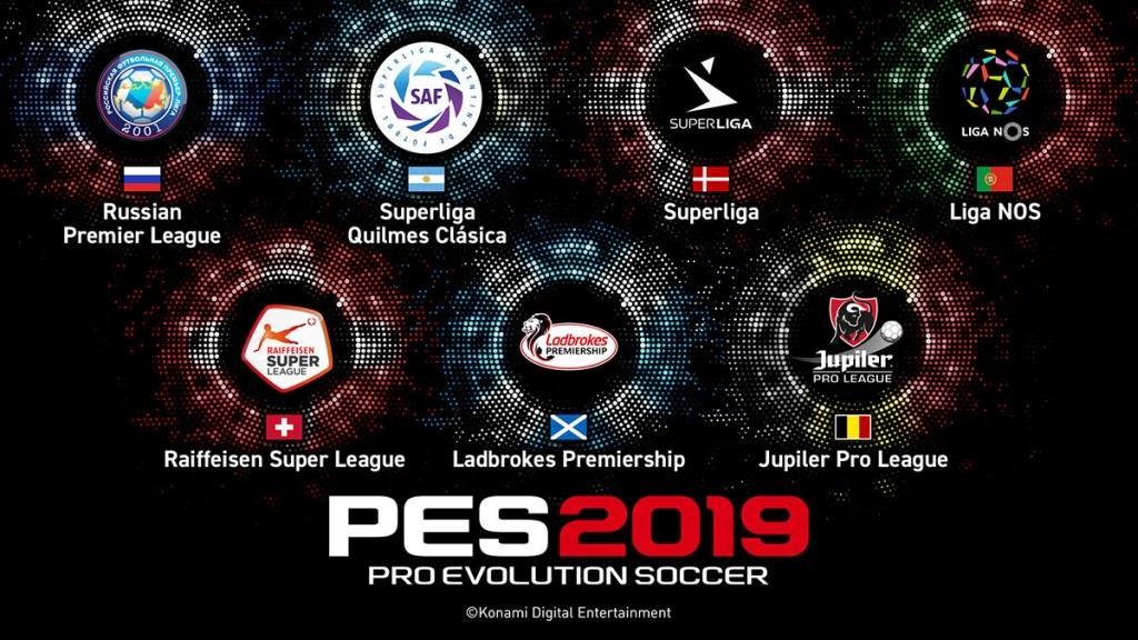 PES 2019; screenshot: licencované ligy