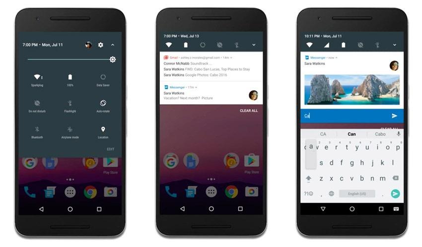 Android 7 Nougat, notifikácie