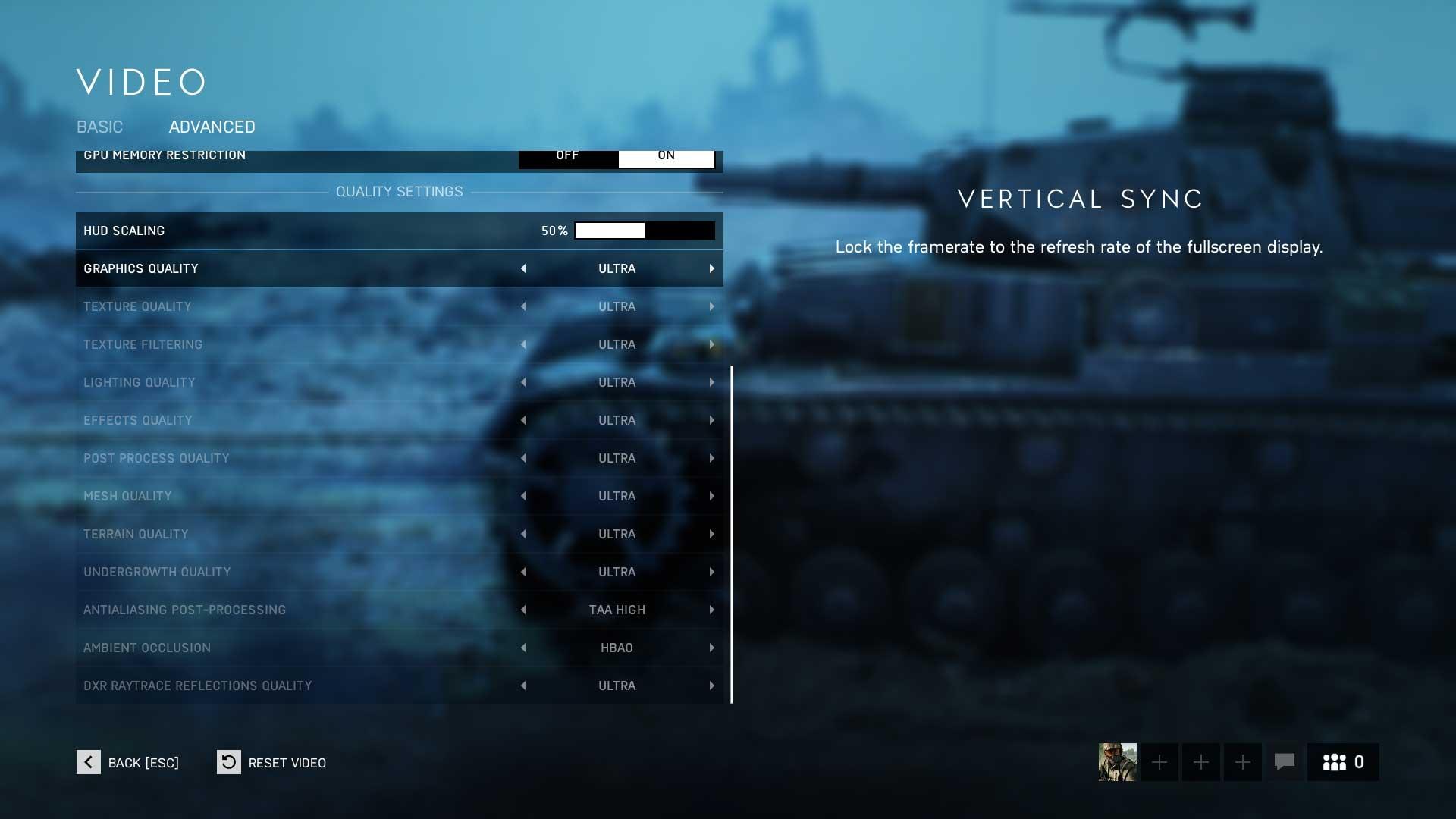 Battlefield 5 rozšírené nastavenie