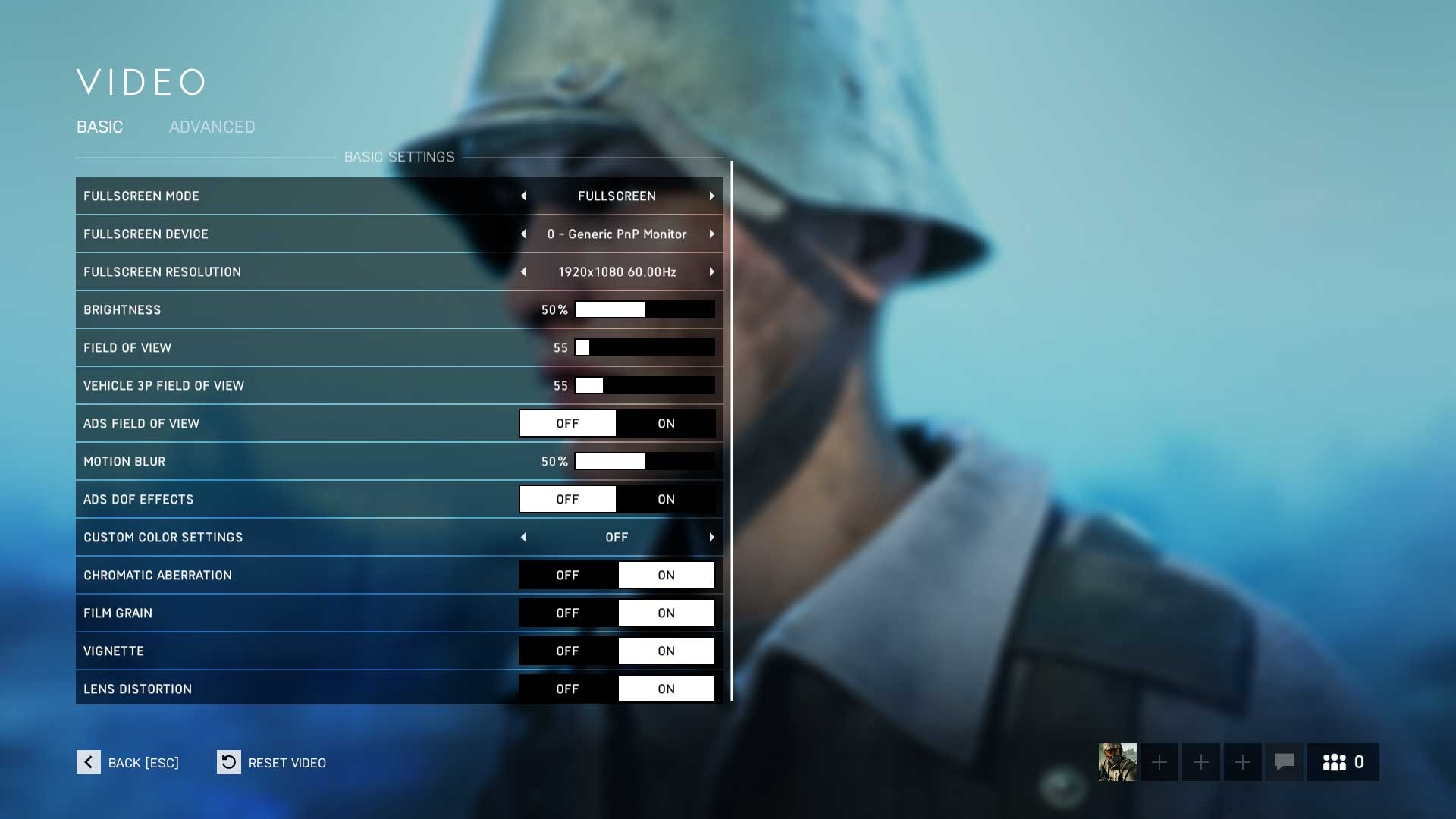 Battlefield 5 základné nastavenie