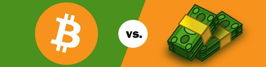 Kryptomeny vs. peniaze; alternatíva, konkurencia, Bitcoin