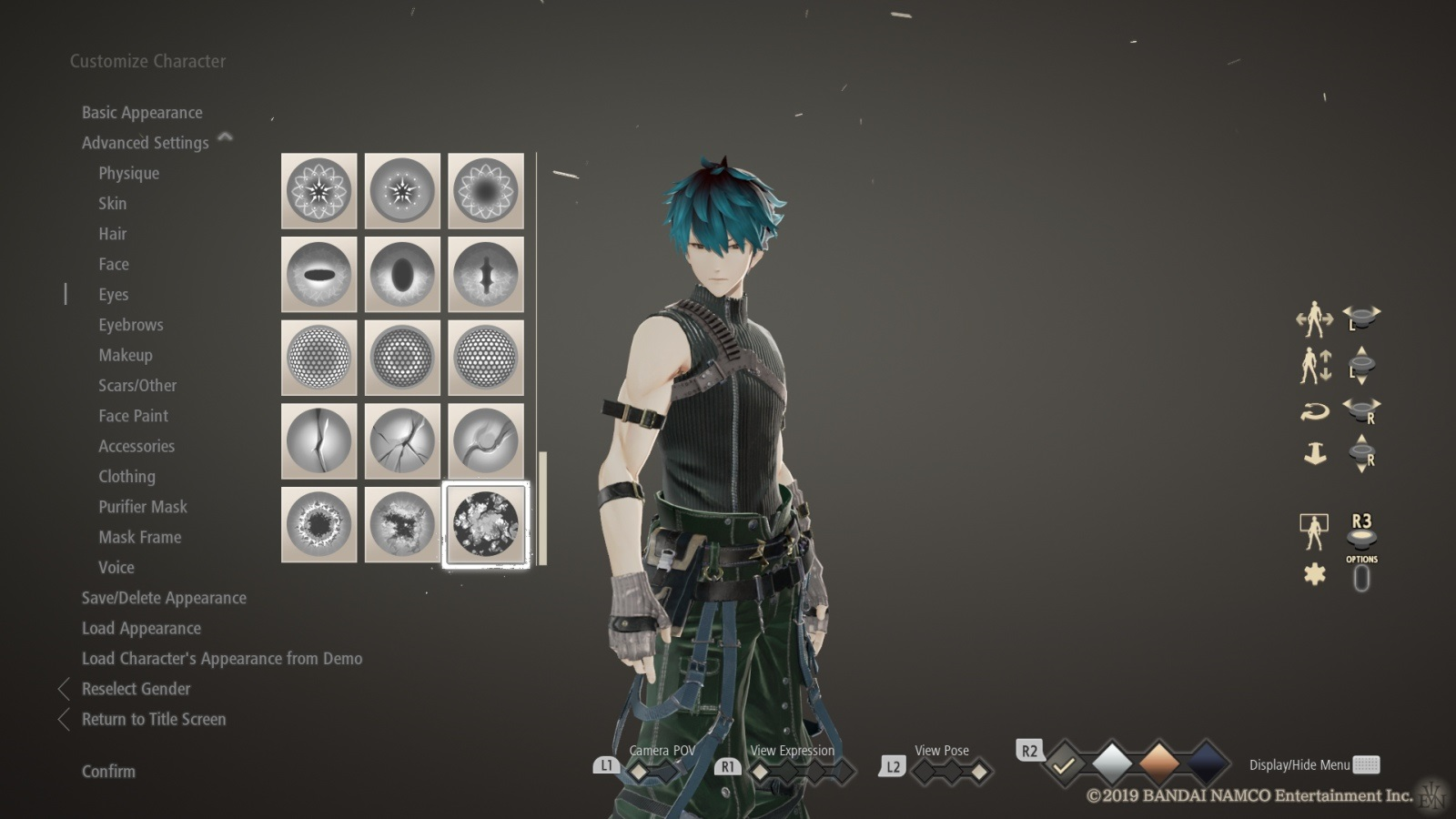 Code Vein; gameplay: editor postavy
