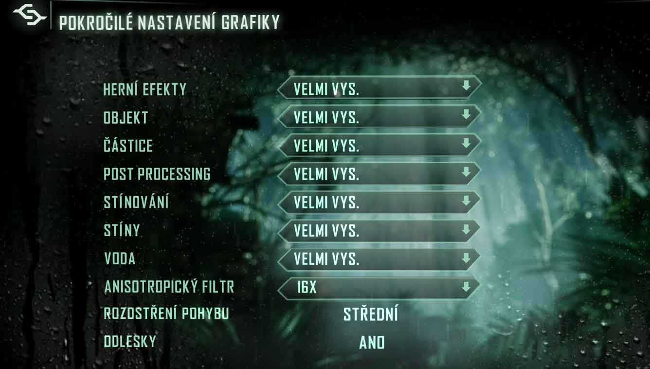 Crysis 3 nastavenie podrobné