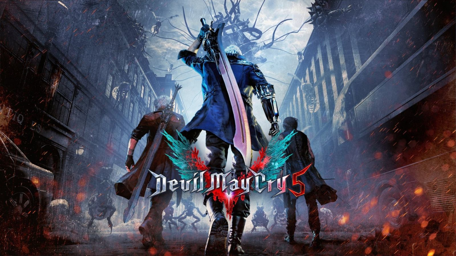 Devil May Cry serie; Devil May Cry 5 (2019): logo, cover