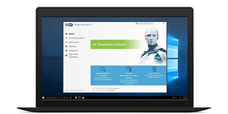 Laptop, obrazovka, ESET Smart Security
