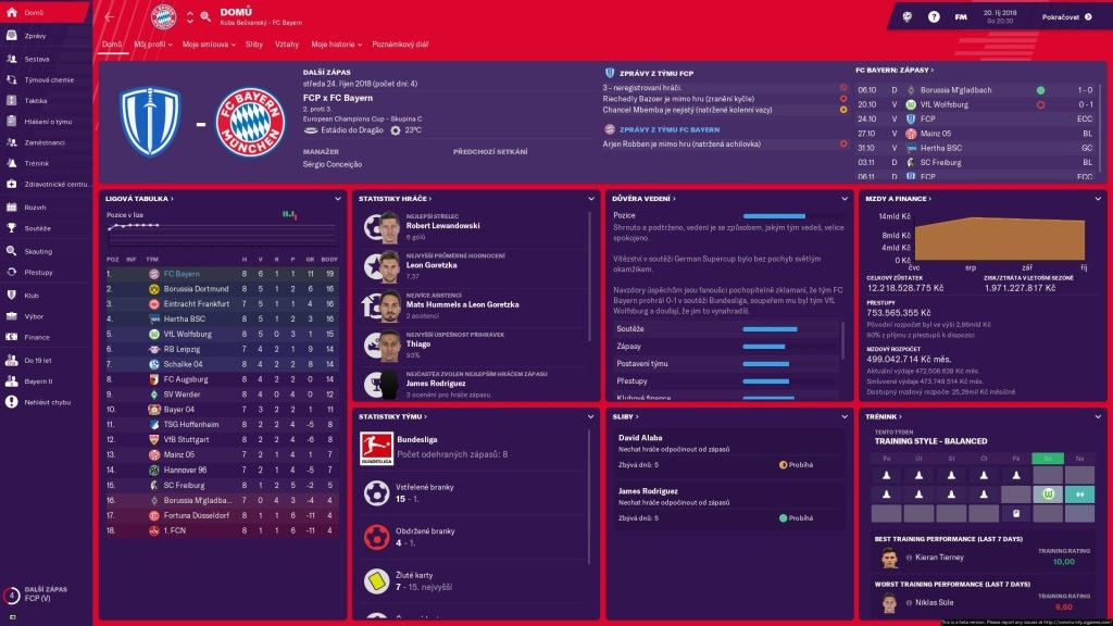 Football Manager 2019; gameplay; správy