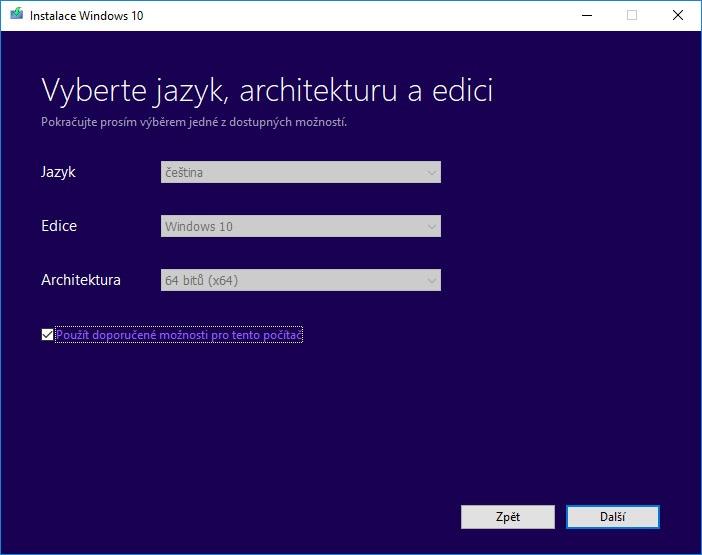 Detailný výber verzie operačného systému