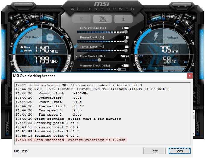 Pretaktovanie MSI RTX 2080 Ti Gaming X TRIO; Afterburner