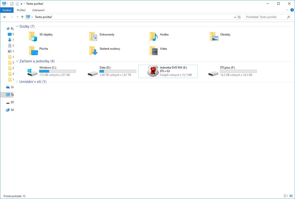 Odomknutý USB disk.