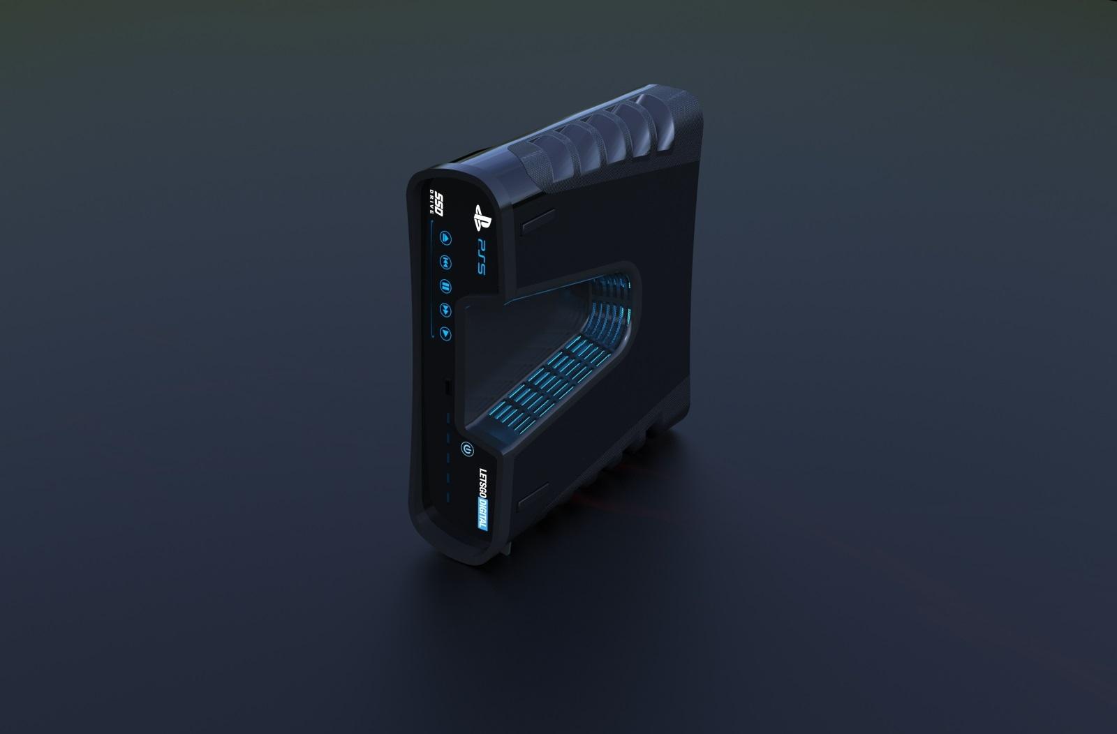 PlayStation 5; screenshot: vizualizácia na stojáka
