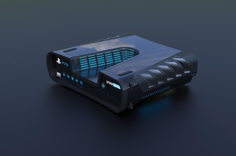 PlayStation 5; screenshot: design vizualizace