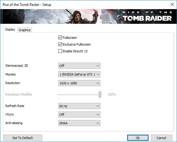 Rise of the Tomb Raider nastavenie videa
