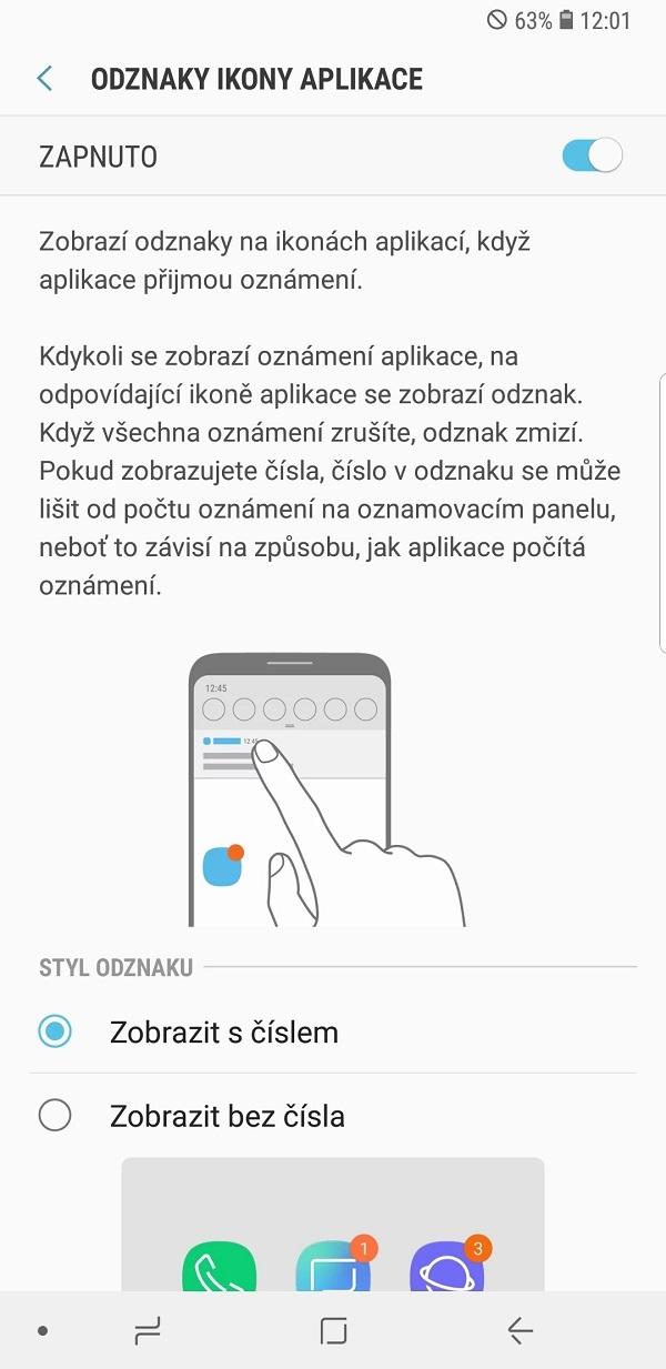 Samsung Galaxy Note9; recenzia; odznaky ikony aplikácie