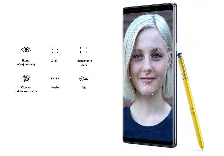 Samsung Galaxy Note9 Duos, rozpoznanie tváre
