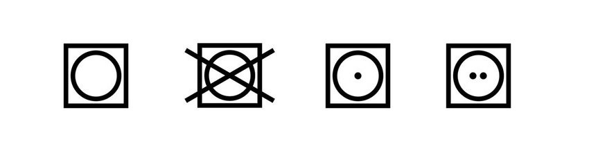 Symboly na cedulkách oblečenia
