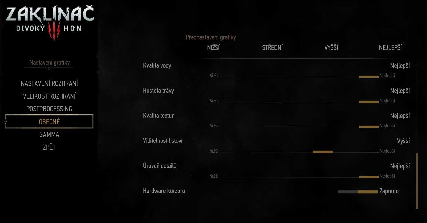 The Witcher 3: Wild Hunt nastavenie všeobecné 3