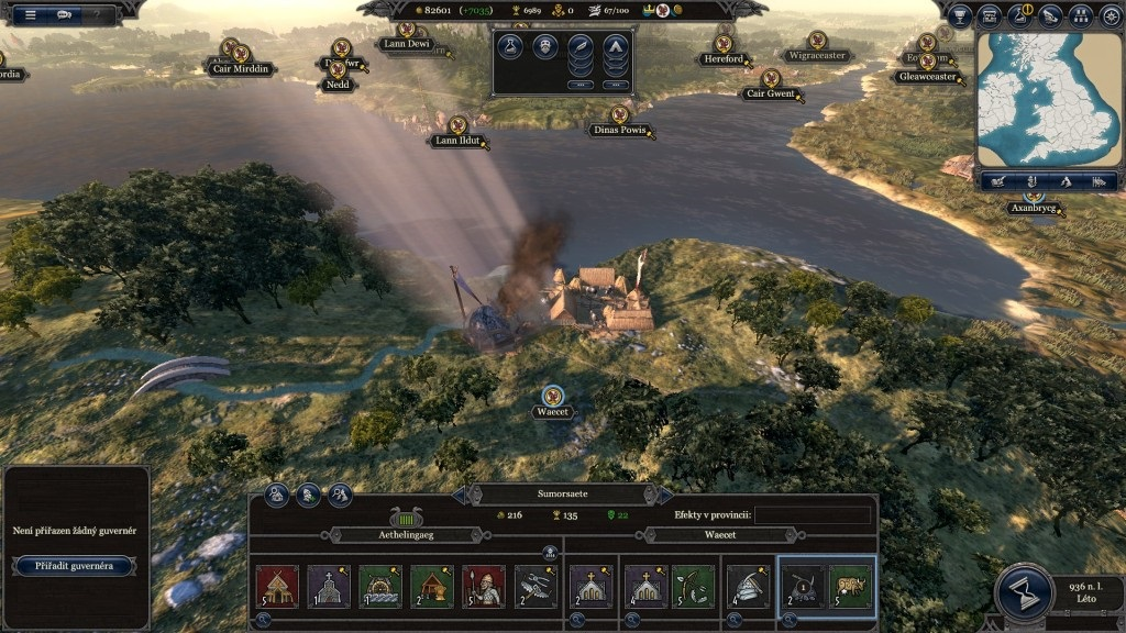Total War Saga: Thrones of Britannia; Gameplay: mesto