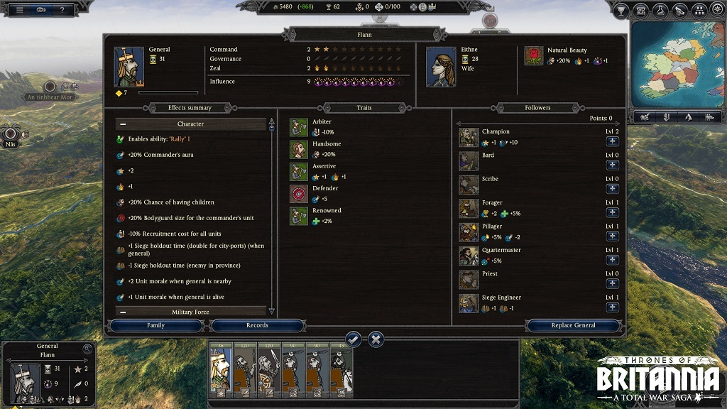 Total War Saga: Thrones of Britannia; Character sheet