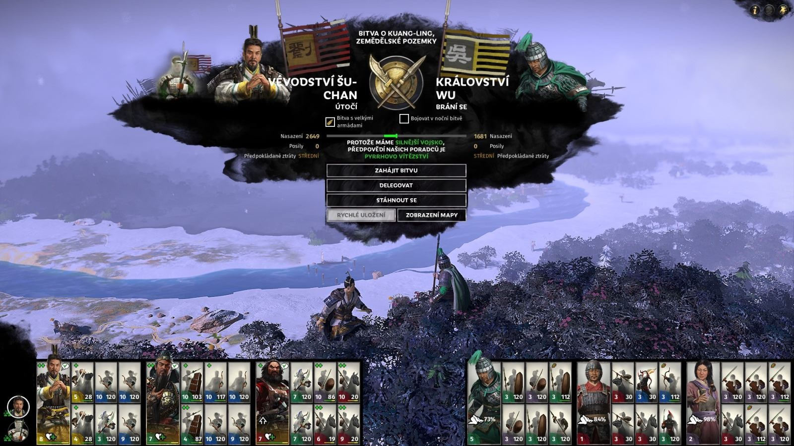 Total War: Three Kingdoms; gameplay: automatické súboje