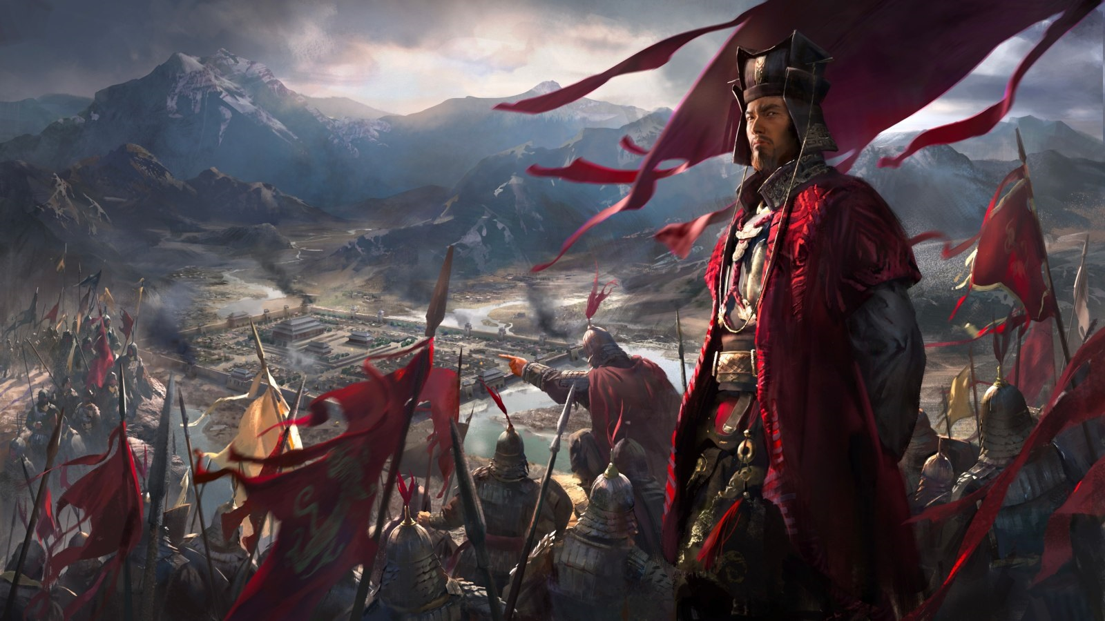 Total War: Three Kingdoms; wallpaper: obliehanie, cover