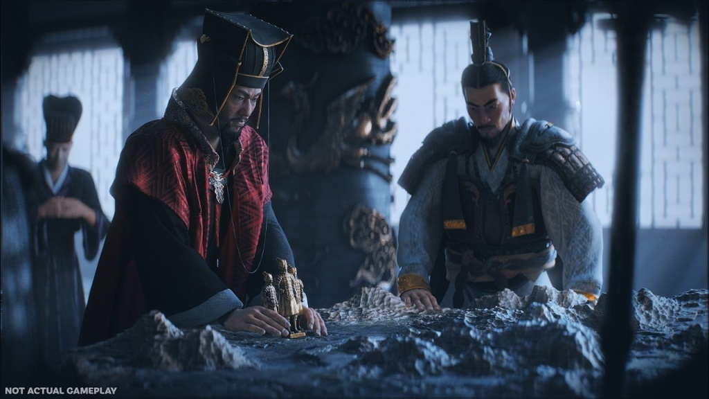 Total War: Three Kingdoms; screenshot: vojnová porada