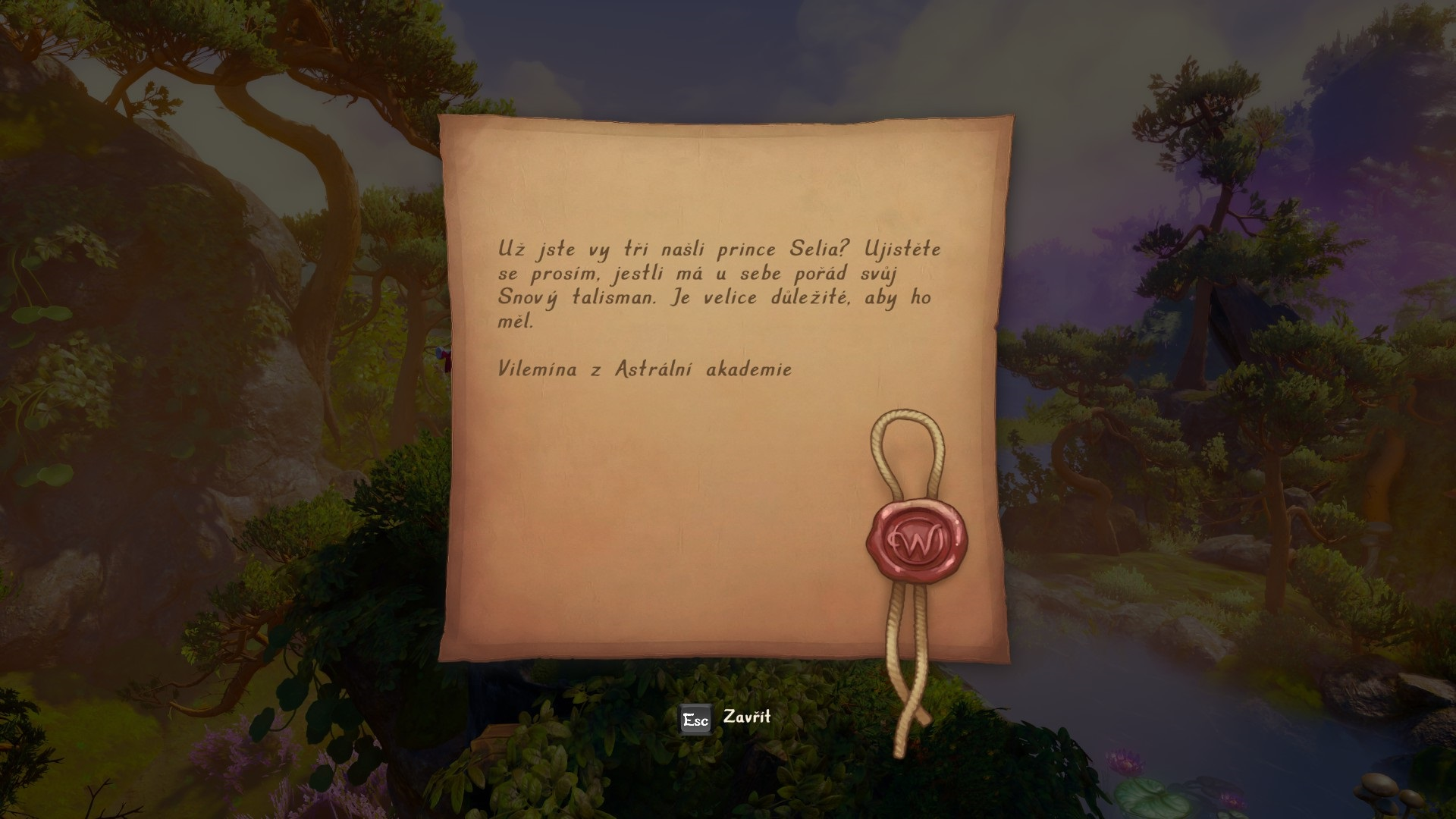 Trine 4: The Nightmare Prince; screenshot: dopis