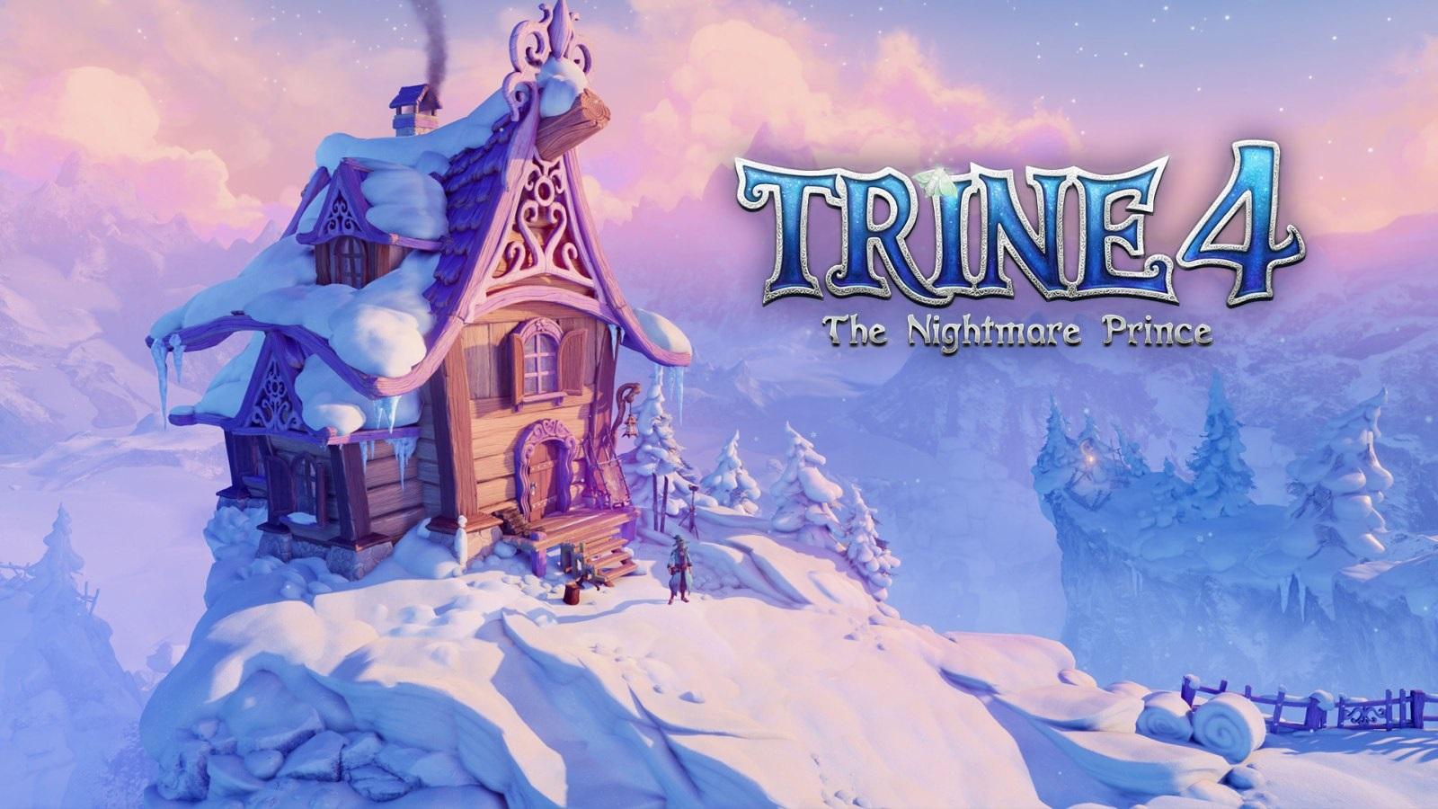 Trine 4: The Nightmare Prince; screenshot: zasnežená chata, logo