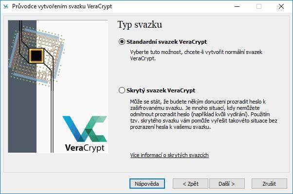 VeraCrypt výber zväzku.