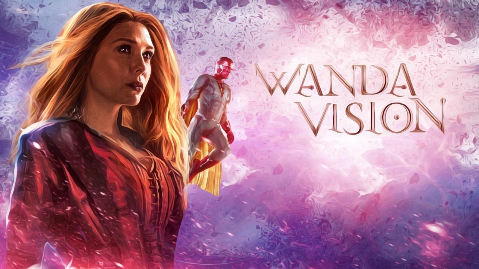 WandaVision; screenshot: logo, postavy