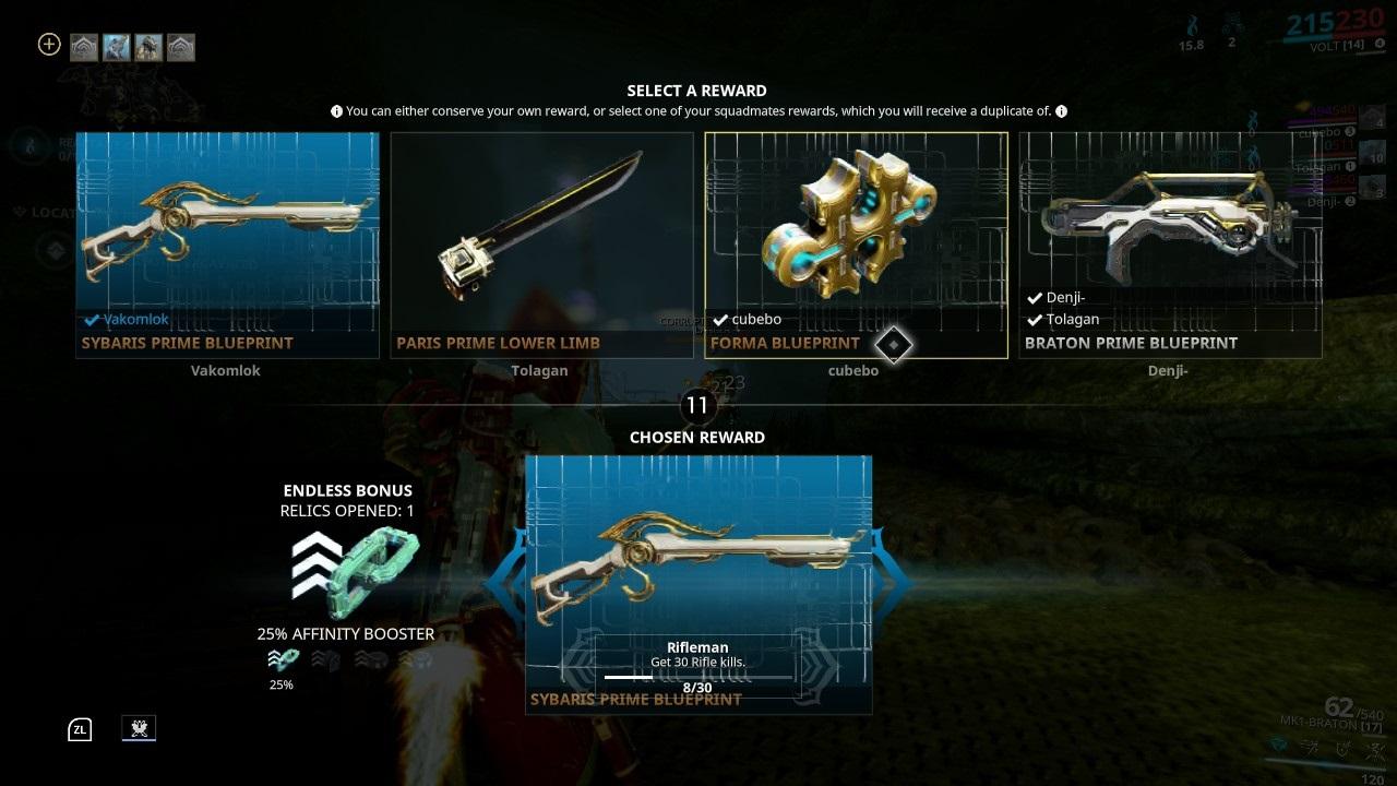 Warframe; gameplay: odměna