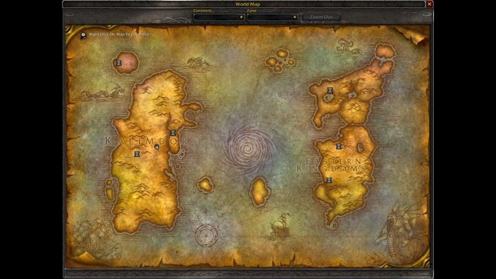 World of Warcraft Classic; gameplay: mapa
