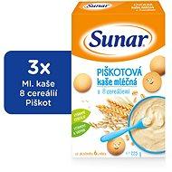 Sunarka piškótová kašička - 3x 225g + DARČEK - mliečna kaša