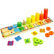 Drevená motorická doska - Nasadzovanie s číslami - Vzdelávacia hračka